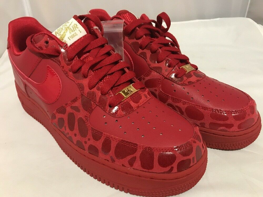 Nike Air Force 1 '07 Valentines Day Red gold DS NIB WmSz.12 Men10.5 Red October