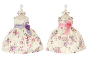 99e2eb9f652 New Baby Flower Girls Pink Lavender Jacquard Dress Wedding Easter ...