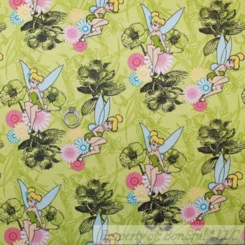 BonEful Fabric FQ Flannel Cotton Disney Tinkerbell Peter Pan Forest Flower Fairy