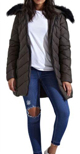 NUOVA linea donna lunga Pelliccia Cappuccio Zig Zag Quilted Puffer imbottito cappotto parka Premium