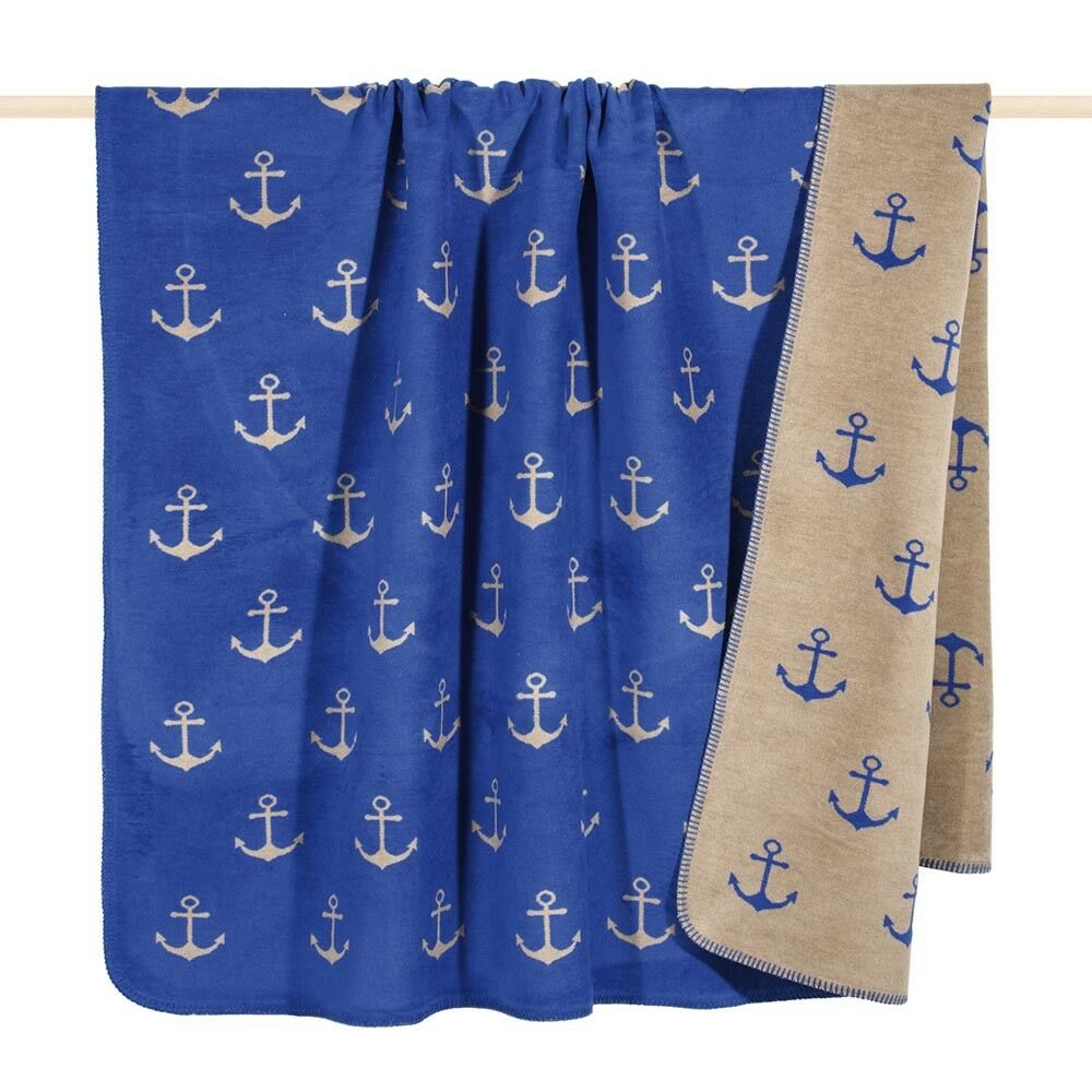 Pad Couverture Sailor Ancre Bleu Taupe Couverture 150x200 Plaid couverture couverture