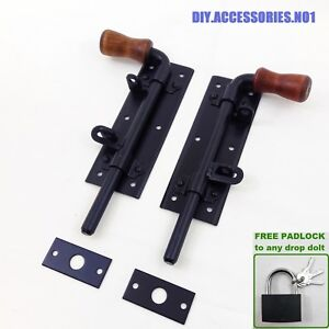 HEAVY-DUTY-STABLE-DROP-BOLT-WOODEN-HANDLE-DOOR-GATE-GARAGE-SLIDING-HASP-PADBOLT