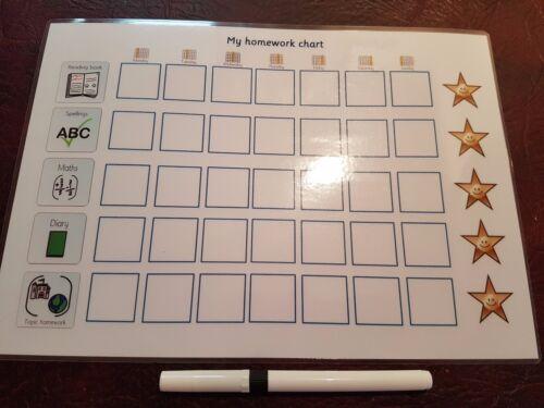Wipe clean Starting School-Autism-SEN Daily Homework Reward Chart with pen