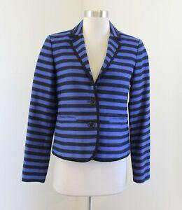 Ann Taylor Loft Womens Black Blue / Purple Striped Blazer Jacket Size 2