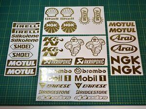 36 Motorbike Belly Pan Decals Sponsor Stickers Set -GOLD CHROME- Swing Arm MotoX