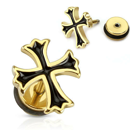 316L Surgical Steel Gold Ion Plated Cross With Black Apoxy Fill Fake Ear Plug