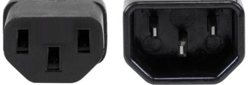 2ft short Male~Female PC Power Extension Cord//Cable//Wire IEC320 C13~C14 18awg{BK