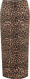 Plus-Size-Womens-Animal-Leopard-Spot-Print-Long-Stretch-Ladies-Maxi-Skirt-14-28