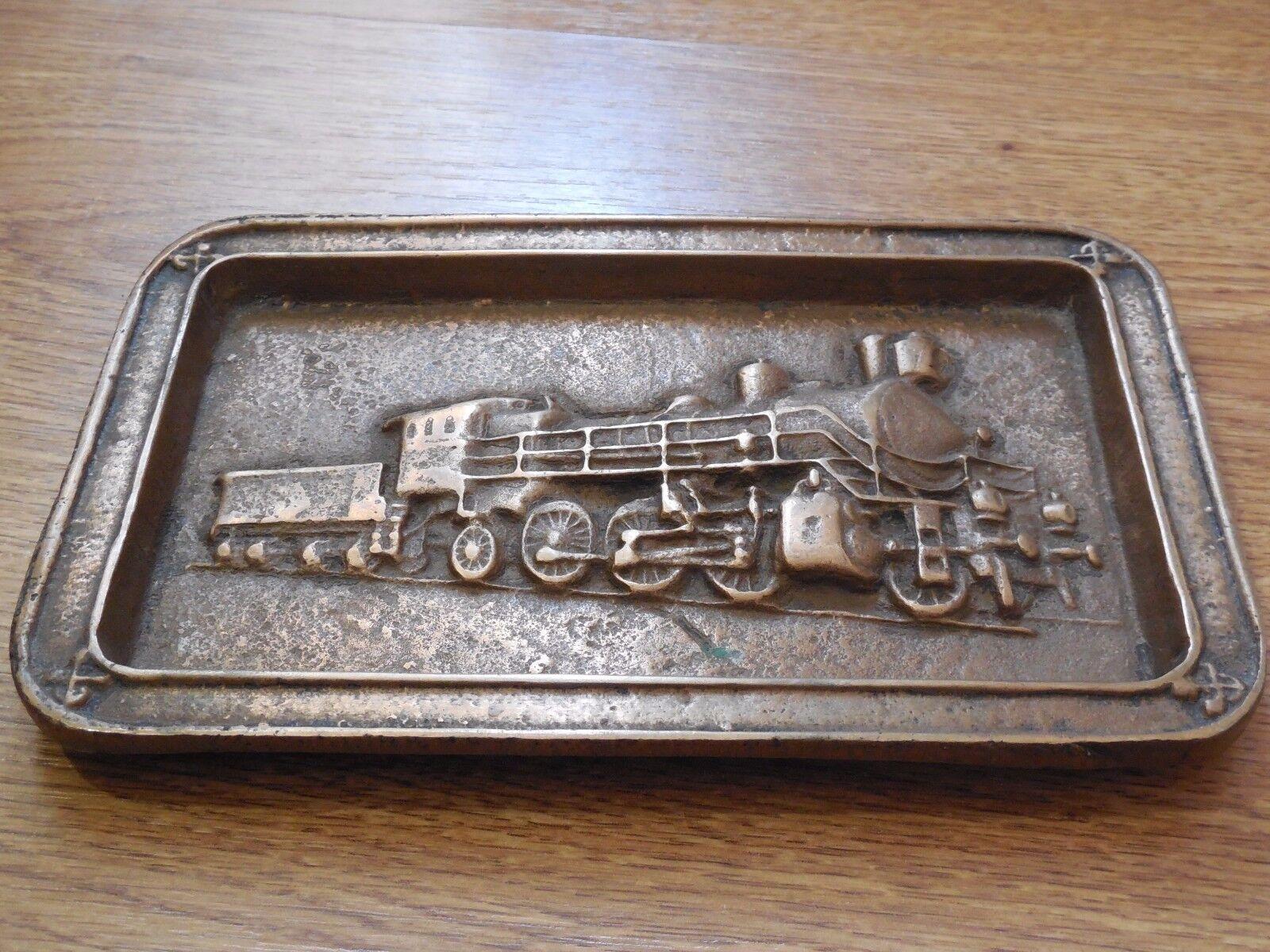 Vintage Soviet Russian Bronze Souvenir Steam Locomotive Train Plaque USSR