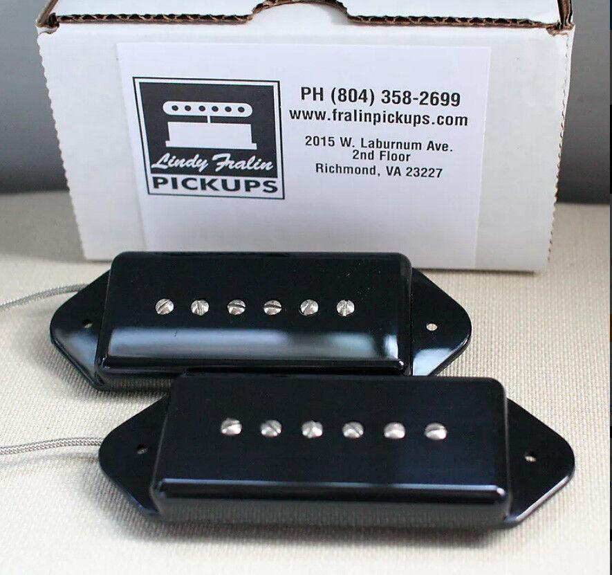 Neu Lindy Fralin Dogear P90 Tonabnehmer Set 2 Schwarz Hergestellt in den USA