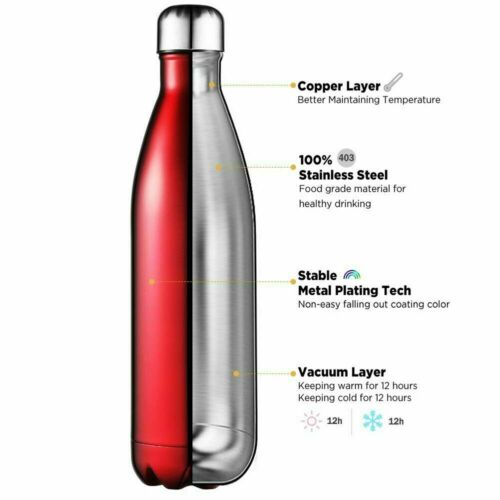 Stainless Steel Water Bottle Vacuum Insulated Double Wall Sports Gym Metal Flask