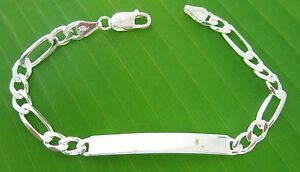 MADE-IN-ITALY-925-Sterling-Silver-ID-engravable-6mm-thick-FIGARO-bracelet-UNISEX