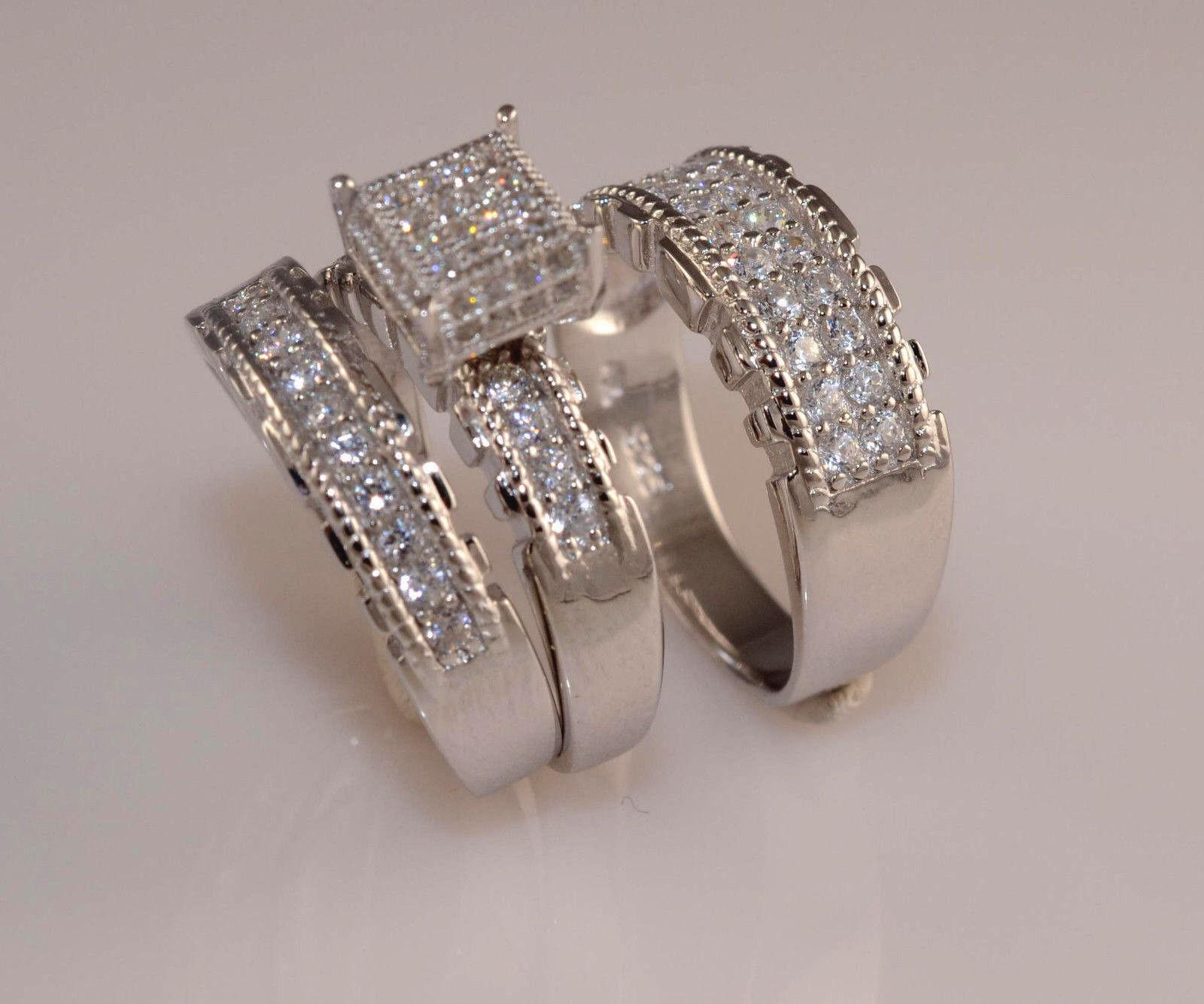 Men And Ladies White gold Finish Trio Set Wedding  Engagement Rings L9  M12