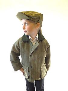 Veste-Tweed-Manteau-Vert-Enfants-Chaude-Pays-Classique-Avec-Tirette-et-Poppers