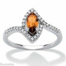 WOMEN STERLING SILVER NOVEMBER CITRINE BIRTHSTONE SCROLL RING SIZE  5 6 7 8 9 10