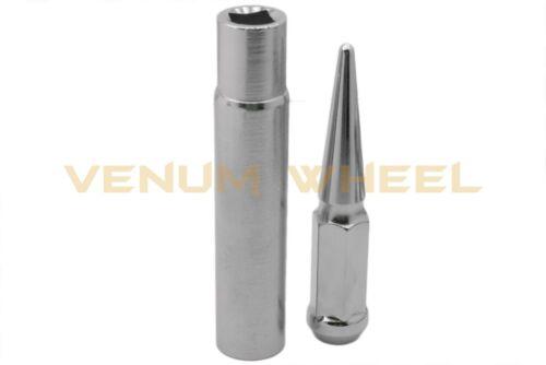 "2 Keys 5 Lug Bolt Pattern Chevrolet 14x1.5 4.5/"" Tall Chrome Spike Lug Nuts"