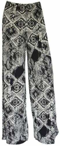 Womens Ladies Plus Size Printed Palazzo Trousers Loose Fit Summer Pants Wide Leg