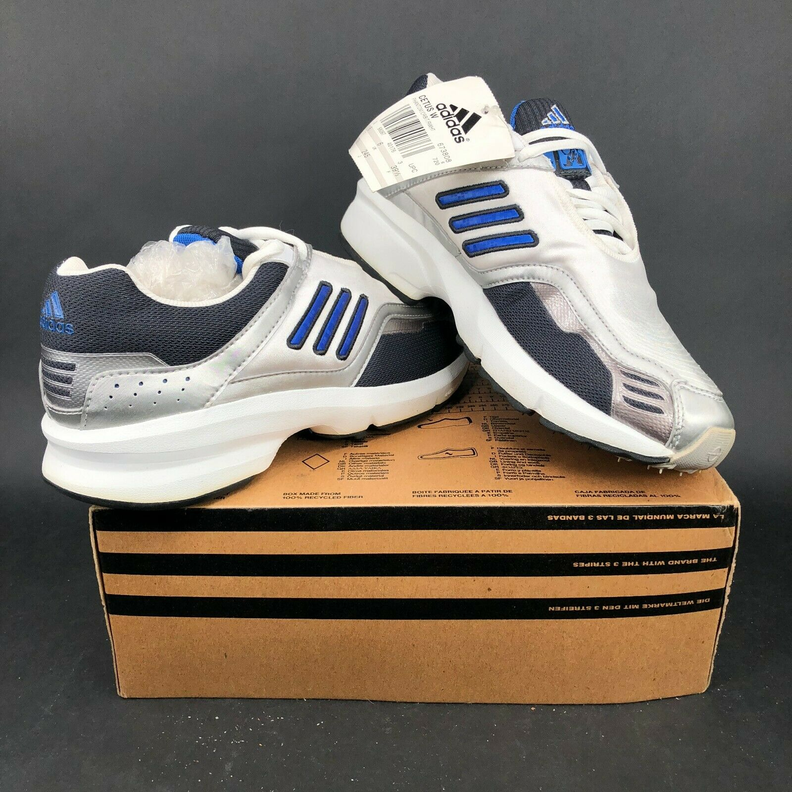 Adidas Cetus W con Cordones blancoo Plata Azul Running Zapatos para hombre 9 2000s 2001 Rara