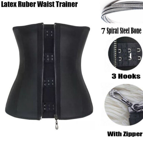 Corset Body Shaper Latex Rubber Waist Trainer Underbust Zipper Slimming Cincher!