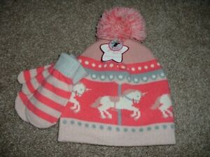 Image is loading Toby-Girl-Unicorn-Carousel-Winter-Sweater-Hat-Mittens- 1370ce4941c4