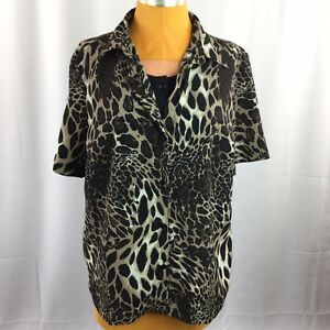 Donnkenny-Classics-Womens-Top-Button-Up-Blouse-Leopard-2fer-Layered-Size-L