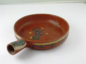 Mexican Hand Painted Folk Art Redware Clay Pottery Serving Dish 8.5 x 1.75 VTG
