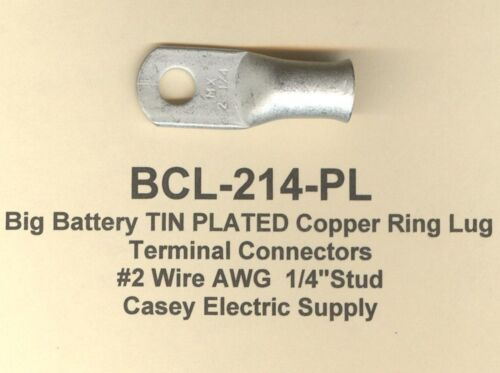 20 Big Battery TIN PLATED Copper Ring Lug Terminal Connector #2 Wire Gauge 1/4