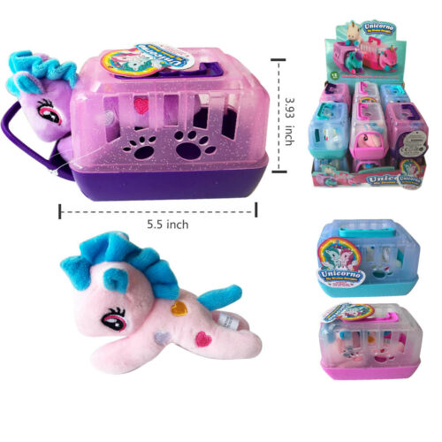 Set of 12 Lovely Little Baby Unicorn Pony Plush Pats Pal with Carrying Cage