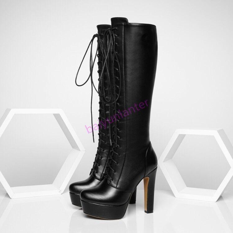 New Donna Pelle Lace Up Knee High Stivali Block High Heel Platform Riding Shoes