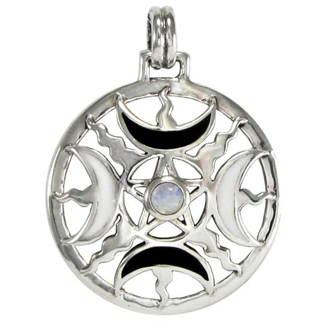 Sterling Silver Enamel Moon Phase Pentacle Pendant Moonstone Wiccan Pentagram