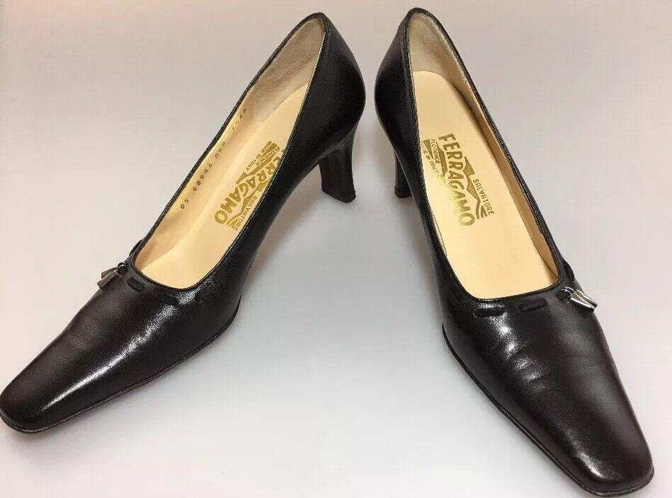 a62c69df036 Salvatore Ferragamo Boutique Classic Pumps Black Leather 7.5 AAAA ...