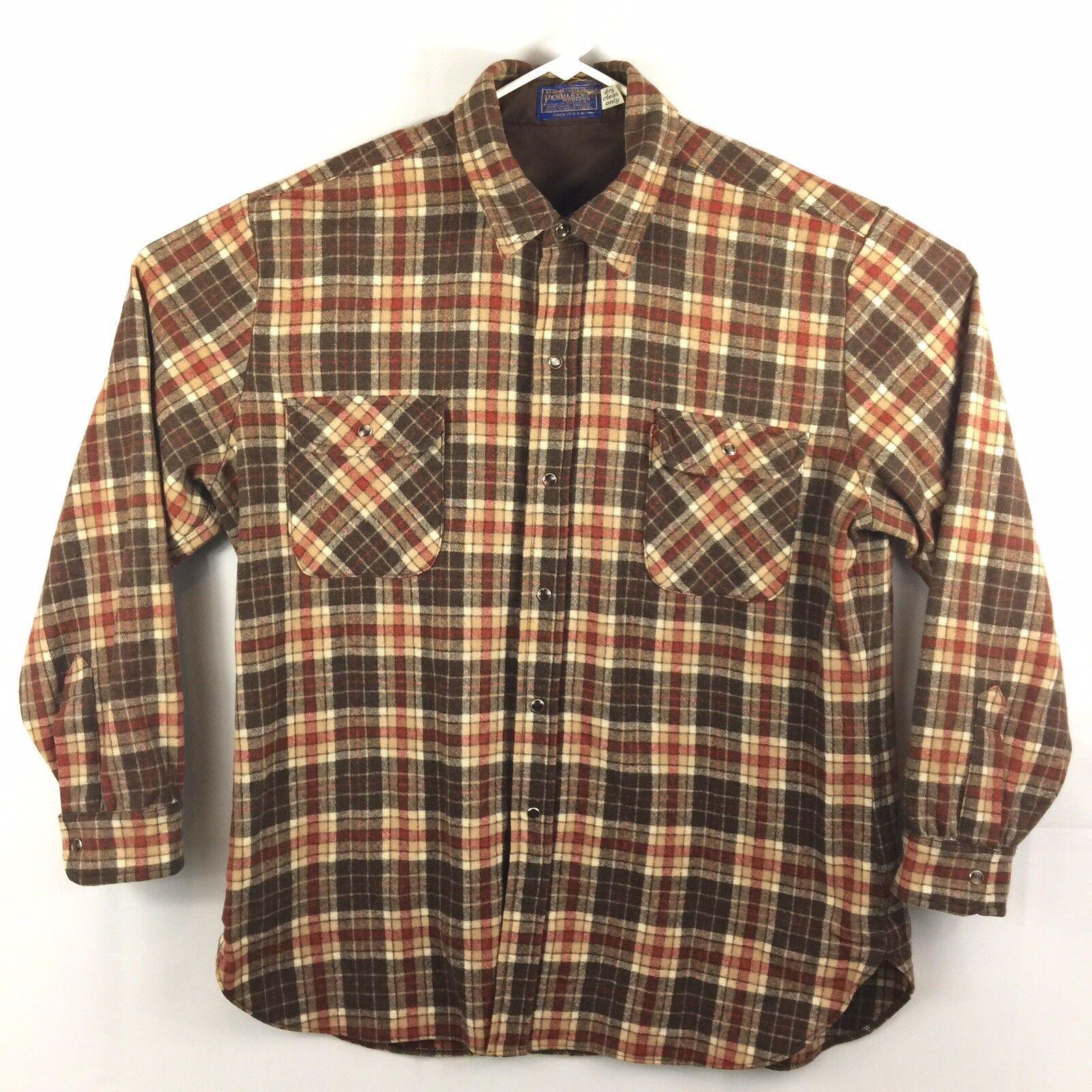 Pendleton Pearl Snap Mens Size XL Western Wear 100 % wool shirt Brown Plaid