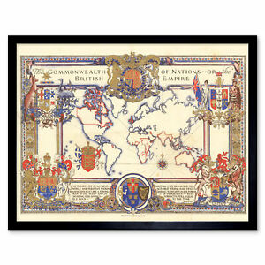 Map-Webb-1937-British-Empire-Commonwealth-Pictorial-Wall-Art-Print-Framed-12x16
