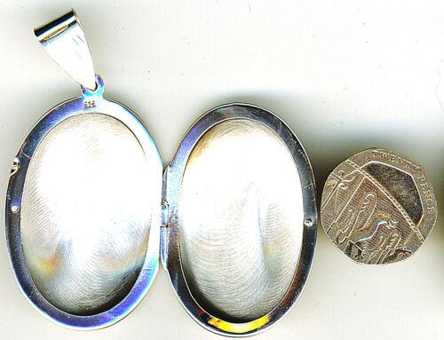 925 Sterling Silver Locket Assay Office Hallmk Ex Large Oval Engrave Pendant 14g