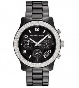 2018-New-Michael-Kors-Runway-Black-Ceramic-Glitz-Chronograph-MK5190-Lady-039-s-Watch