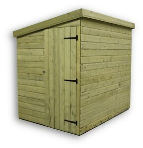 Garden Shed Shiplap Pent Tanalised Pressure Treated Door Left