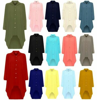 Stylish Ladies Button Hi Lo Long Sleeve Collared Chiffon Shirt Dress Top 8-26