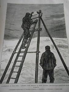 Gravure-1876-Pole-Nord-Appareil-pour-mesurer-le-froid