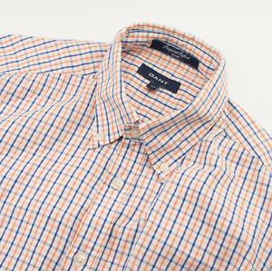 Gant-Pinpoint-Oxford-E-Z-Fit-Shirt-Mens-Size-M-Medium-Checked-Cotton-Long-Sleeve
