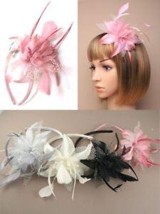 Flower-Feather-Alice-Band-Fascinator-Headband-Wedding-Race-Ascot-Ladies-Day-Prom