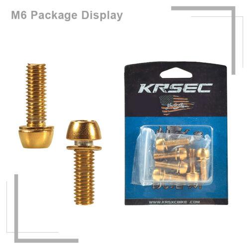 KRSEC M5//M6 Bike Stem Screws Titanium-plated 18mm Road MTB Cycling Bolt 6pcs//Box