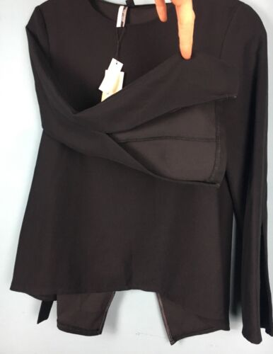 Tie Size Back Crossover Sleeve Topshop Wrap Open B64 Smart 6 Top Black HXRwqC4