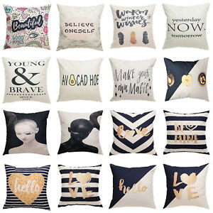 Simple Letters Vintage Pillow Case Sofa Waist Throw Cushion Cover