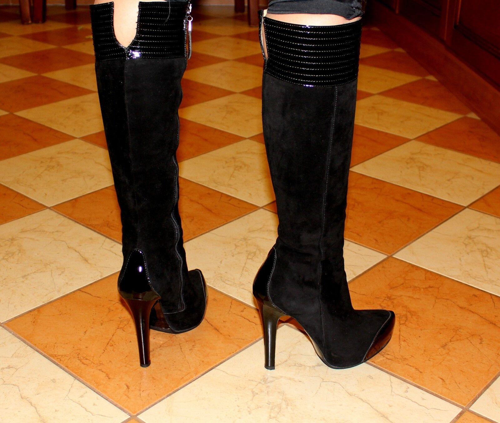 Gianmarco Lorenzi authentic designer damen suede patent leather Stiefel Stiefel Stiefel heels sz 5 6f30c2