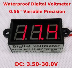 Waterproof-Digital-LED-DC-Gauge-Volt-Meter-Voltmeter-Panel-12V-24V-car-Battery