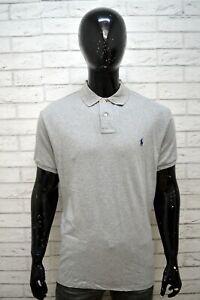 Polo-RALPH-LAUREN-Maglia-Uomo-Taglia-XL-Shirt-Chemise-homme-Grigio-Cotone-Custom