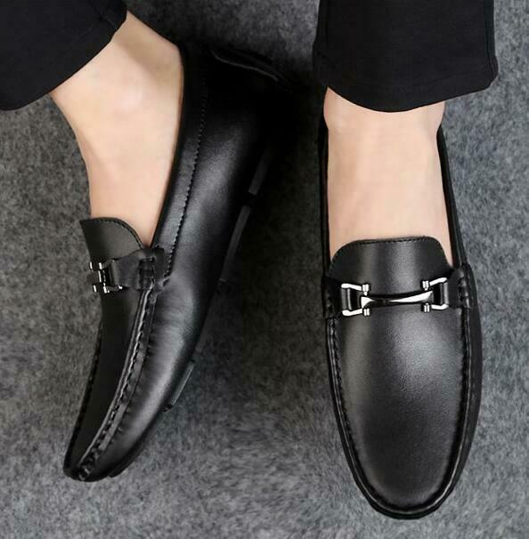 Men Slip On Loafers Driving Moccasins Casual Business Flats Boat shoes Round Toe