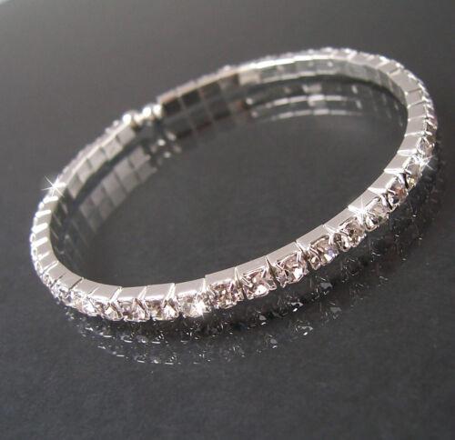Armreif Armspirale Silber plattiert Strass Hochzeit Armband Schmuck Braut VA33