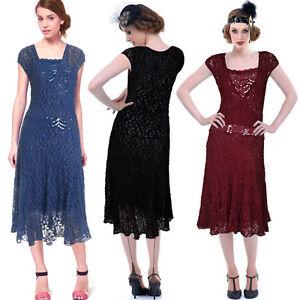 Women-20s-Cap-Sleeve-Midi-Calf-Sequined-Drop-Waist-Wrap-Wedding-Party-Lace-Dress