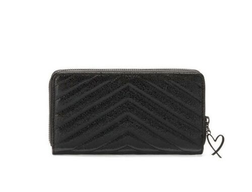 NEW Victoria/'s Secret V-Quilt Metallic Crackle Everything Zip Wallet Black $45